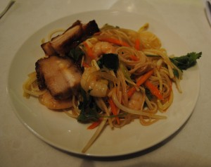twice cooked pork,prawn and noodle salad