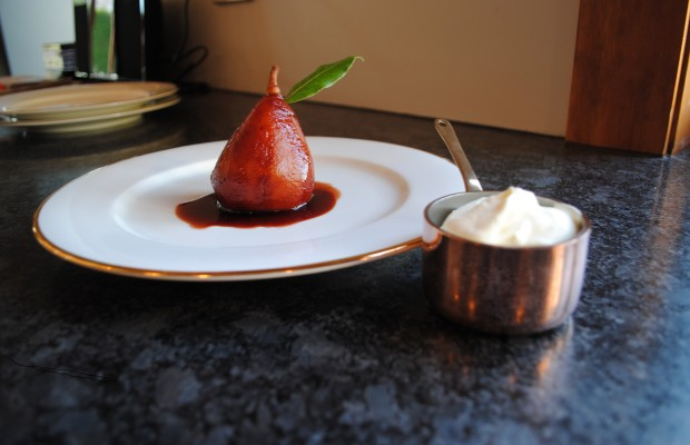 Poached pear in red wine and spices