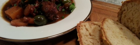 Spanish braised lamb with red wine and green lentils