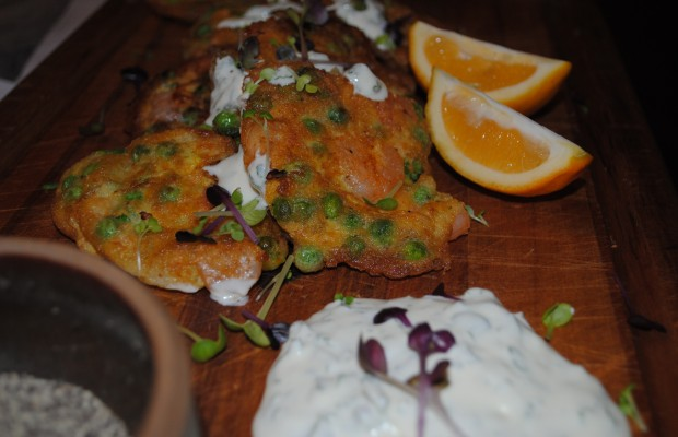Prawn and pea fritters