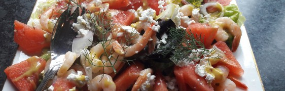WATERMELON AND PRAWN SALAD